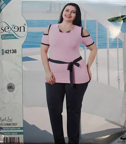 Пижама SEXEN (Батал) женская с коротким рукавом и штанами 42138, фото 2