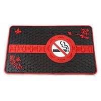 """Волшебный противоскользящий коврик на приборную панель автомобиля с узором сотов и лозунгом """"не курить"""" Красный с чёрным"""
