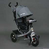 Детский трехколёсный велосипед Бест Трайк Best Trike 6588B серый с фарой. Резиновые колёса.