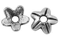 Шапочки для Бусин Металлические, Цветок, Цвет: Античное Серебро, Размер: 9х9х3мм, Отверстие 2мм, (УТ000008036)