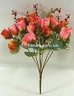 """Искусственный  куст розы""""фиеста"""" (цвет розово-оранжевый)"""