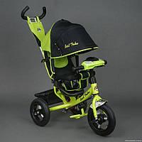 Детский трехколёсный велосипед Бест Трайк Best Trike 6588B салатовый с фарой. Резиновые колёса.
