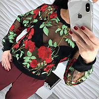 Женская, нарядная кофточка из набивной органзы с ярким, цветочным принтом. РАЗНЫЕ ПРИНТЫ