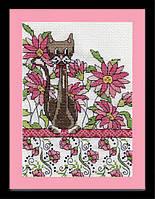 """Набор для вышивания крестом """"Pink Floral Cat//Цветочная кошка"""" Design Works"""