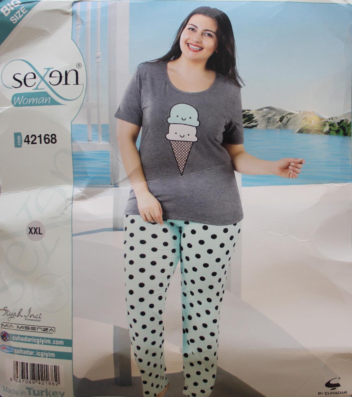 Пижама SEXEN (Батал) женская с коротким рукавом и штанами 42168