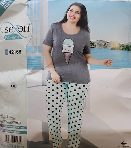 Пижама SEXEN (Батал) женская с коротким рукавом и штанами 42168, фото 2