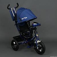 Детский трехколёсный велосипед Бест Трайк Best Trike 6588B синий с фарой. Резиновые колёса.
