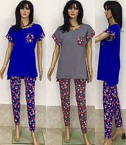 Женский домашний костюм с асимметричной футболкой и узкими штанами Губы 44-52 р