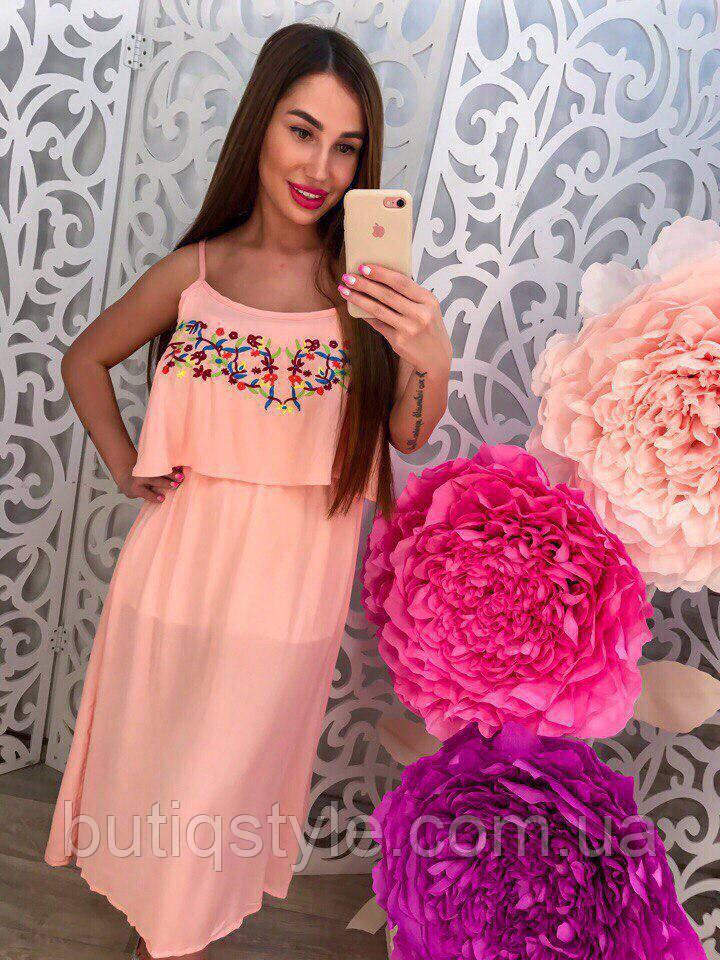 Стильное женское платье сарафан с вышивой розовый, белый, голубой