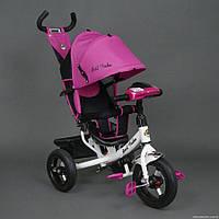 Детский трехколёсный велосипед Бест Трайк Best Trike 6588B розовый с фарой. Резиновые колёса.