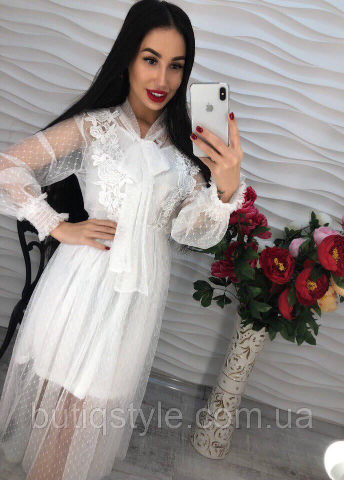 Элегантное красивое платье шифон с бантом только белое