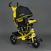 Детский трехколёсный велосипед Бест Трайк Best Trike 6588B желтый с фарой. Резиновые колёса.