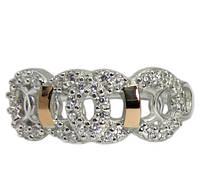Женское серебряное кольцо с золотыми пластинами Олимпия