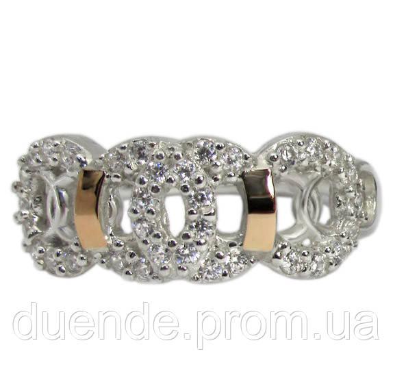 Женское серебряное кольцо с золотыми пластинами Олимпия / Mz 043к