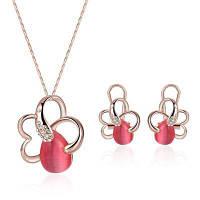 Набор ювелирных изделий Rhinestone Faux Ruby Розовый золотой