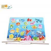 Деревянная Рыбацкая Игра-Головоломка Игрушка Разноцветный