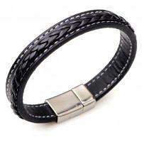 Искусственный кожаный браслет из титана Стальной браслет Чёрный