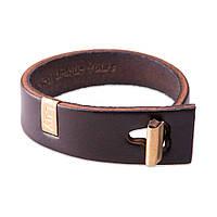 Кожаный браслет на руку LUY n-3-one-5 коричневый (фирменная пробковая коробочка в подарок)