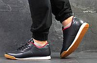 Кроссовки в стиле Reebok Classic (темно синие с белым) кожа, кожаные кроссовки Reebok Рибок 4614