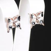 Милые серьги Бабочки, покрытые золотом 0618