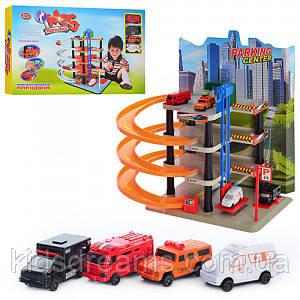 Игровой набор Гараж Play Smart 0848,многоэтажная парковка - 5 этажей, лифт, спиральный съезд, 4 машинки