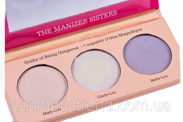 The Manizer Sisters Makeup Highlighter набор хайлайтеров для лица и тела 3х1 6760-01, фото 2