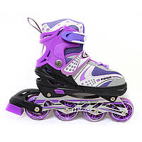 Роликовые коньки (ролики) M-12, размеры: 29-33, 34-38, 38-42, фиолетовые