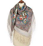 Чародейка Зима 1749-1, павлопосадский платок шерстяной (двуниточная шерсть) с шелковой вязаной бахромой, фото 2