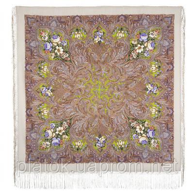 Чародейка Зима 1749-2, павлопосадский платок шерстяной (двуниточная шерсть) с шелковой вязаной бахромой