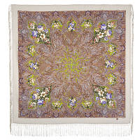 Чародейка Зима 1749-2, павлопосадский платок шерстяной (двуниточная шерсть) с шелковой вязаной бахромой, фото 1