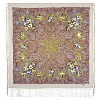 Чародейка Зима 1749-2, павлопосадский платок шерстяной (двуниточная шерсть) с шелковой вязаной бахромой    СКИДКА!!!