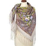 Чародейка Зима 1749-2, павлопосадский платок шерстяной (двуниточная шерсть) с шелковой вязаной бахромой, фото 3