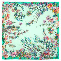 Платок  хлопковый 10602-11, павлопосадский платок хлопковый (батистовый) с швом зиг-заг