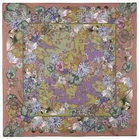 10599 платок  (батист) 10599-16, павлопосадский платок хлопковый (батистовый) с швом зиг-заг, фото 1
