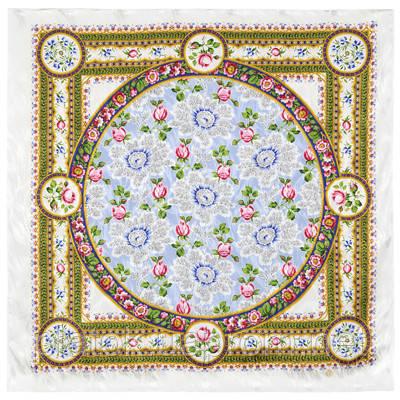 Северные цветы 736-1, павлопосадский платок (жаккард) шелковый с подрубкой