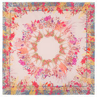 10605 платок  (батист) 10605-2, павлопосадский платок хлопковый (батистовый) с швом зиг-заг, фото 1