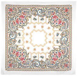 Тёщины посиделки 1644-2, павлопосадская скатерть хлопковая с подрубкой