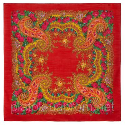 Южный букет 1785-5, павлопосадский платок шерстяной  с оверлоком