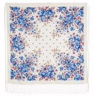 Утренный сад 363-1v, павлопосадский платок шерстяной (двуниточная шерсть) с шелковой вязаной бахромой    СКИДКА!!!
