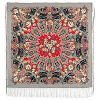 Река любви 1773-2, павлопосадский платок шерстяной (двуниточная шерсть) с шелковой вязаной бахромой    СКИДКА!!!