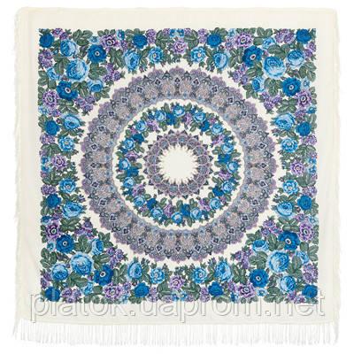 Молитва 353-2, павлопосадский платок шерстяной  с шерстяной бахромой