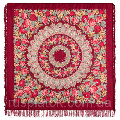Молитва 353-5, павлопосадский платок шерстяной  с шерстяной бахромой