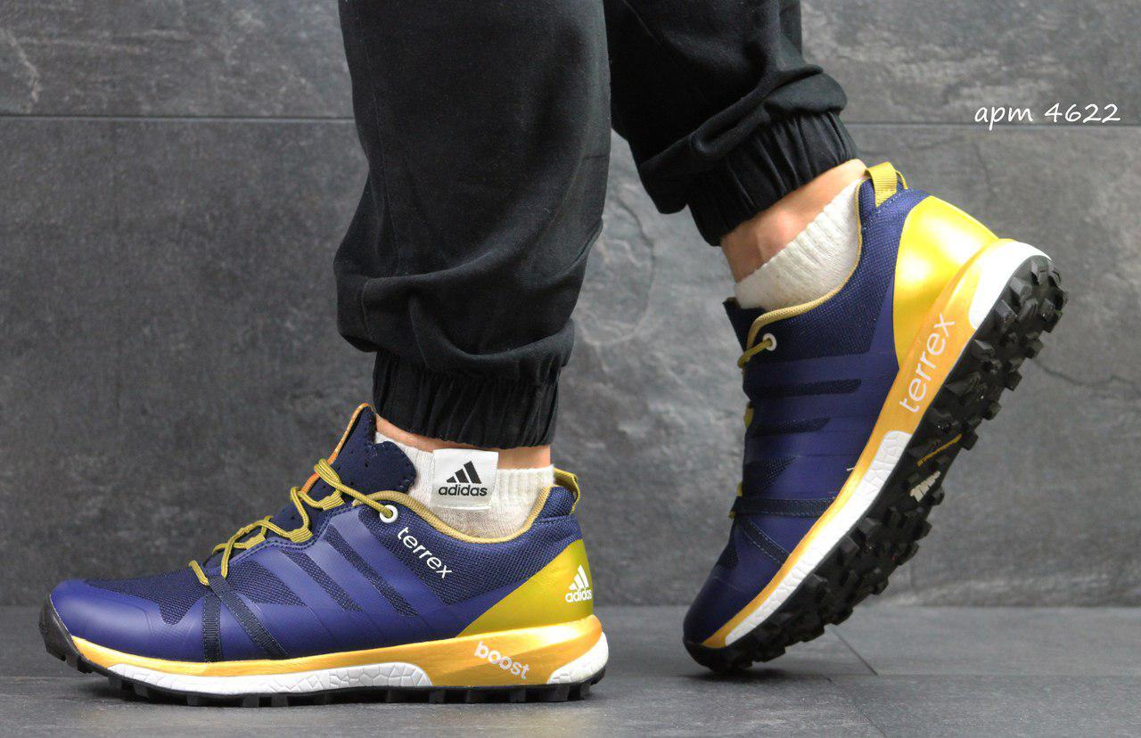 Кроссовки в стиле Adidas Terrex Boost (синие с золотым) кроссовки адидас  adidas 4622 cd16a1bf519