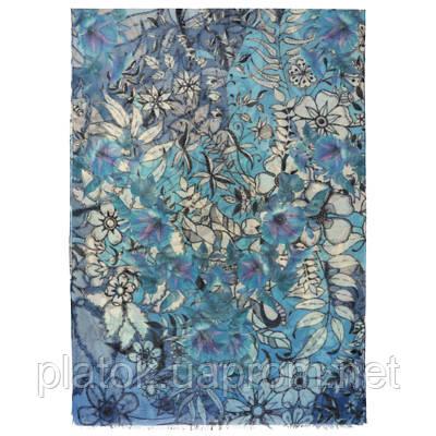 10457-13, павлопосадский шарф-палантин шерстяной (разреженная шерсть) с осыпкой