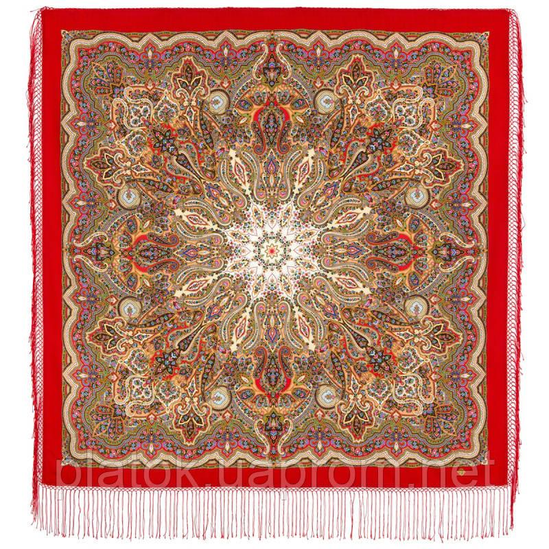 Сказочница 1763-5, павлопосадский платок шерстяной (двуниточная шерсть) с шелковой вязаной бахромой