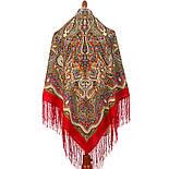 Сказочница 1763-5, павлопосадский платок шерстяной (двуниточная шерсть) с шелковой вязаной бахромой, фото 3