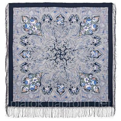 Чародейка зима 1749-14, павлопосадский платок шерстяной (двуниточная шерсть) с шелковой вязаной бахромой