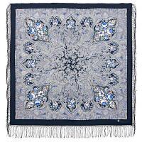 Чародейка зима 1749-14, павлопосадский платок шерстяной (двуниточная шерсть) с шелковой вязаной бахромой, фото 1