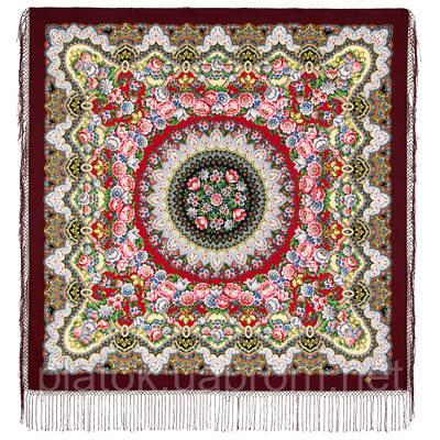 Дождь 1779-7, павлопосадский платок шерстяной (двуниточная шерсть) с шелковой вязаной бахромой