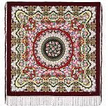 Дождь 1779-7, павлопосадский платок шерстяной (двуниточная шерсть) с шелковой вязаной бахромой, фото 2